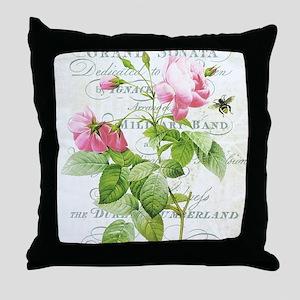Vintage French Botanical pink rose Throw Pillow