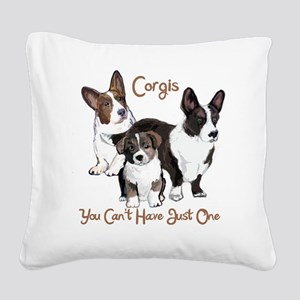 Cardigan corgi family Square Canvas Pillow