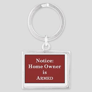 Armed Home Owner Landscape Keychain