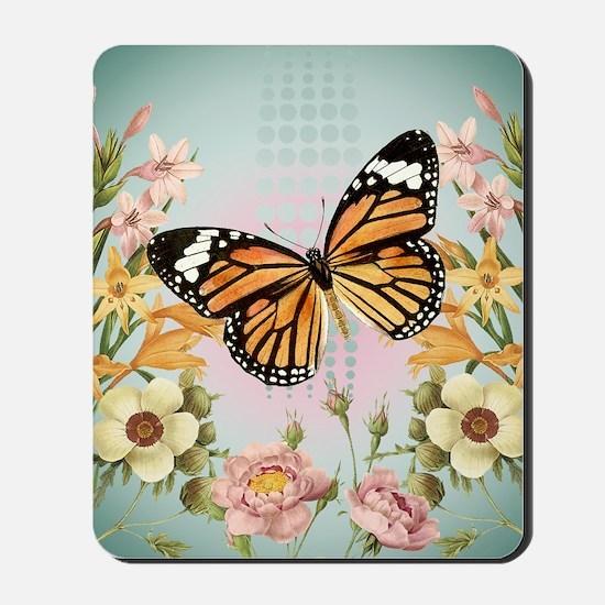 Modern Vintage Monarch butterfly Mousepad