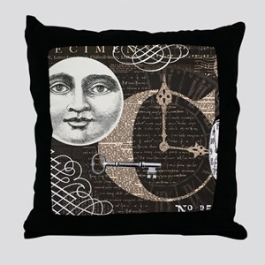 Modern Vintage Steampunk collage Throw Pillow