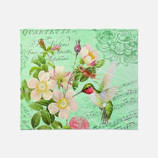 Modern vintage french hummingbird Throw Blanket