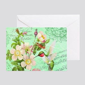 Hummingbird vintage greeting cards cafepress modern vintage french hummingbird greeting card m4hsunfo