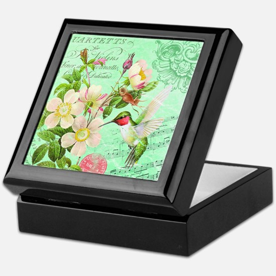 Modern vintage french hummingbird Keepsake Box