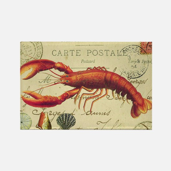 vintage French postcard with lobs Rectangle Magnet