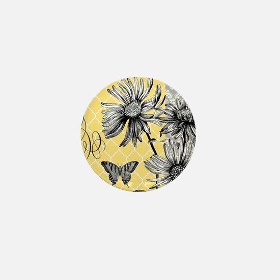 Modern vintage floral collage Mini Button