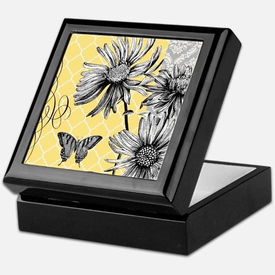 Modern vintage floral collage Keepsake Box