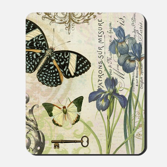 modern vintage French butterflies and ir Mousepad