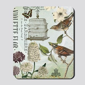 Modern vintage French birds and birdcage Mousepad
