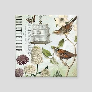 "Modern vintage French birds Square Sticker 3"" x 3"""