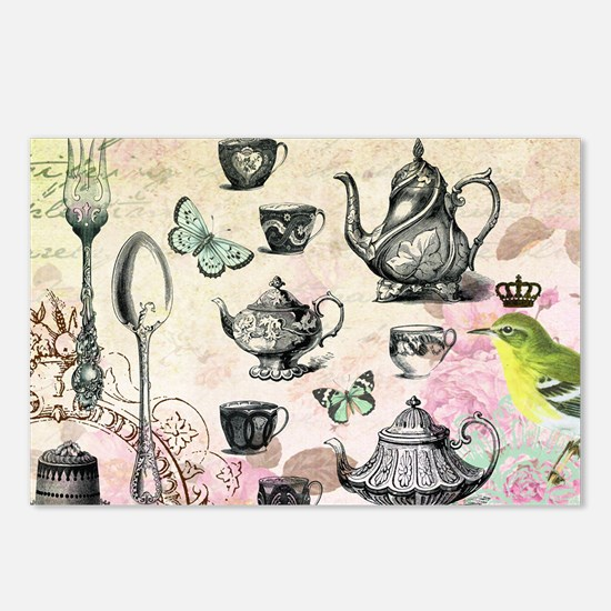 Vintage French Garden tea Postcards (Package of 8)
