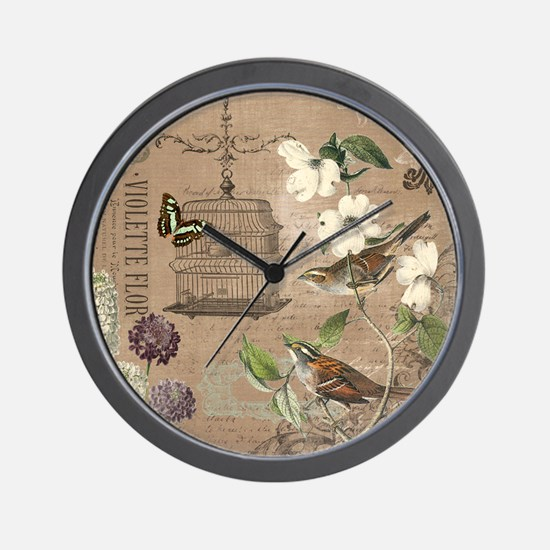 Modern vintage French birds and birdcag Wall Clock