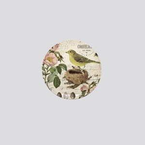 Modern vintage french bird and nest Mini Button
