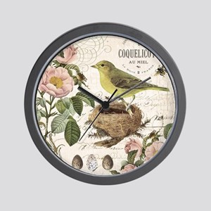 Modern vintage french bird and nest Wall Clock