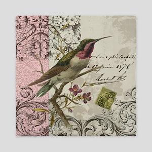 Modern vintage French hummingbird Queen Duvet