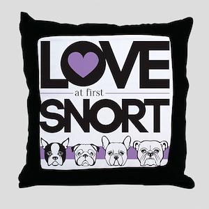 Love at First Snort Throw Pillow