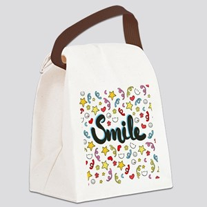 Smile Happy Face Heart Star Canvas Lunch Bag