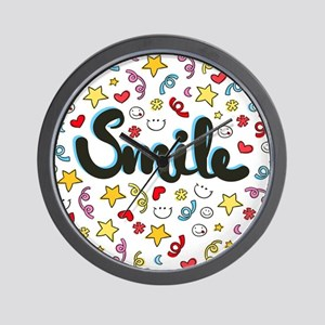 Smile Happy Face Heart Star Wall Clock