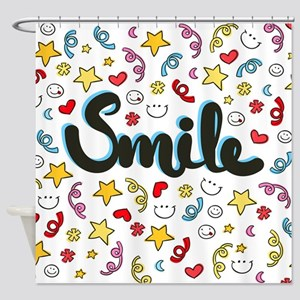 Smile Happy Face Heart Star Shower Curtain