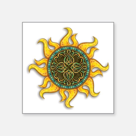 "Mosaic Sun Square Sticker 3"" x 3"""