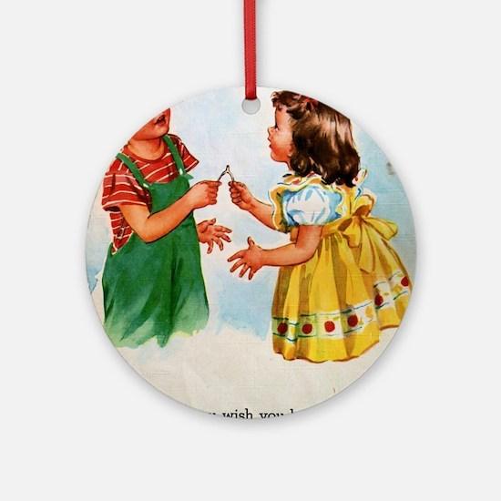 Vintage Kids Wish Round Ornament