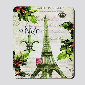 Vintage French Christmas in Paris Mousepad