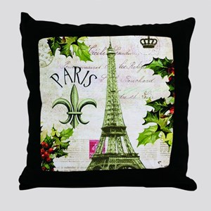 Vintage French Christmas in Paris Throw Pillow