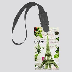 Vintage French Christmas in Pari Large Luggage Tag