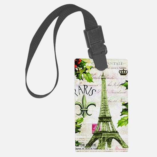 Vintage French Christmas in Pari Luggage Tag