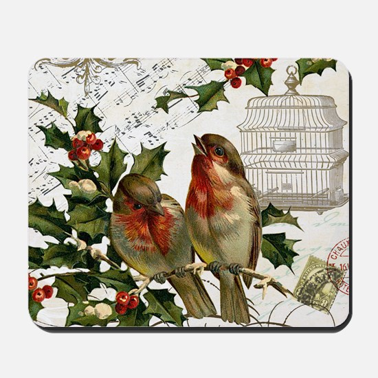 Vintage French Christmas birds and birdc Mousepad