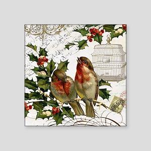 "Vintage French Christmas bi Square Sticker 3"" x 3"""