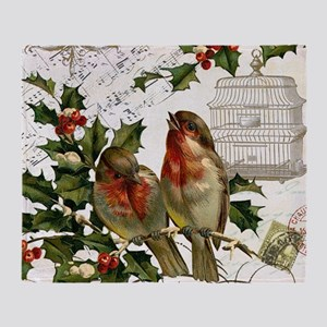 Vintage French Christmas birds and b Throw Blanket