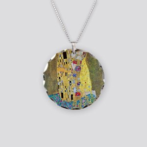 The Kiss by Gustav Klimt, Vi Necklace Circle Charm