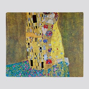 The Kiss by Gustav Klimt, Vintage Ar Throw Blanket