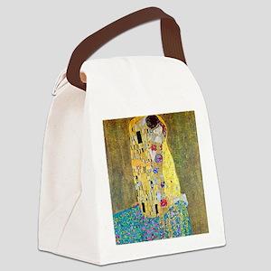 The Kiss by Gustav Klimt, Vintage Canvas Lunch Bag