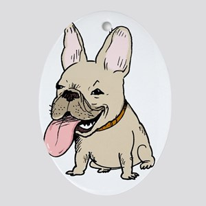 nohatfrenchie Oval Ornament