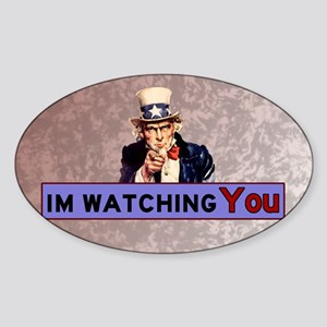Uncle Sam Is Watching Sticker (Oval)