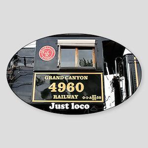 Just loco: steam train engine, Ariz Sticker (Oval)