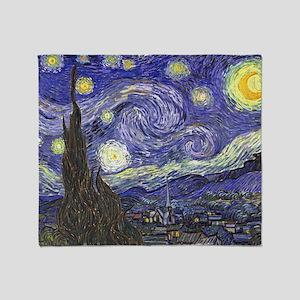 Van Gogh Starry Night, Vintage Post  Throw Blanket