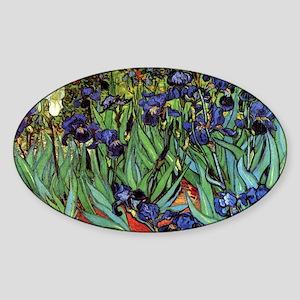 Irises by van Gogh Vintage Post Imp Sticker (Oval)