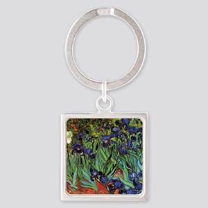 Irises by van Gogh Vintage Post Im Square Keychain