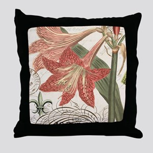 modern vintage winter garden amarylli Throw Pillow