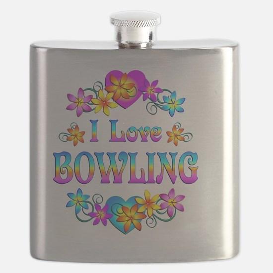 I Love Bowling Flask