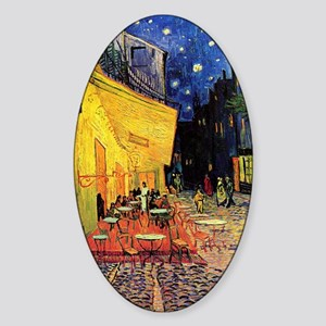 Van Gogh, Cafe Terrace at Night Sticker (Oval)