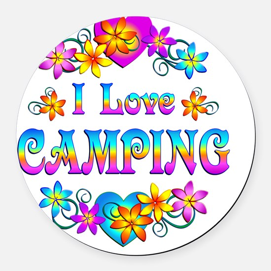 I Love Camping Round Car Magnet