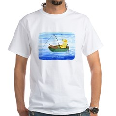 Labrador Fishing Dog White T-Shirt