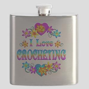 I Love Crocheting Flask