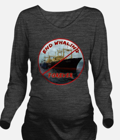 End Whaling Forever Long Sleeve Maternity T-Shirt
