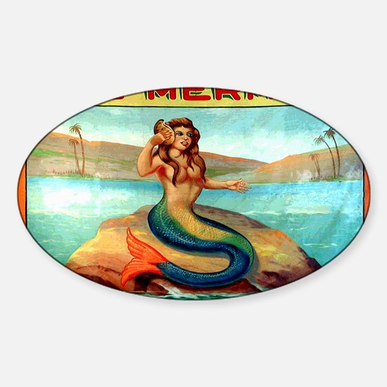 Vintage Mermaid Carnival Poster Sticker (Oval)