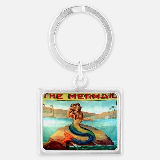 Vintage Mermaid Carnival Poster Landscape Keychain